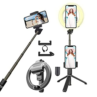 """6.3"""" Selfie Ring Light with Adjustable Bracket (13'' to 35''), Selfie Stick with Remote Control, Desktop Dimmable Ring Light for YouTube Video/Live Stream/Makeup, Compatible with iPhone/Android/Gopro… from lakoko jp"""