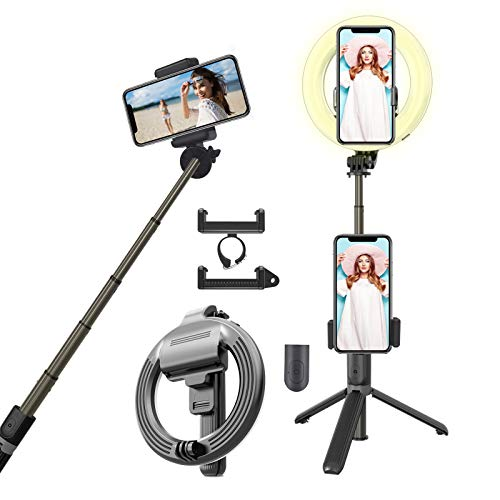 "6.3"" Selfie Ring Light with Adjustable Bracket (13'' to 35''), Selfie Stick with Remote Control, Desktop Dimmable Ring Light for YouTube Video/Live Stream/Makeup, Compatible with iPhone/Android/Gopro…"