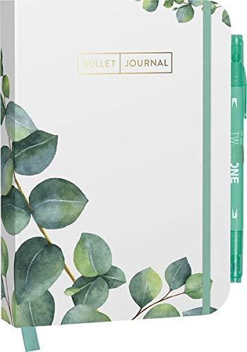 Bullet Journal 'Leaves' 05 mit original Tombow TwinTone Dual-Tip Marker 86 mint black: Mit Punkteraster, Seiten für Index, Key und Future Log sowie ... praktischem Verschlussband und Innentasche