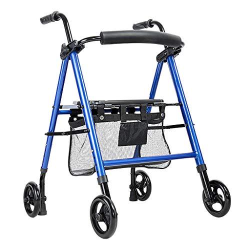 Rollatoren Einkaufswagen-Gehhilfe, verstellbare Armlehnenhöhe/Sitzhöhe, klappbar, Lager 136KG, einfach zu tragender Allradwagen