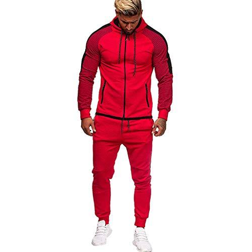 Riou-Sweatshirts Herren Cargo Stil Sportanzug Jogginganzug Trainingsanzug Sporthose+Hoodie