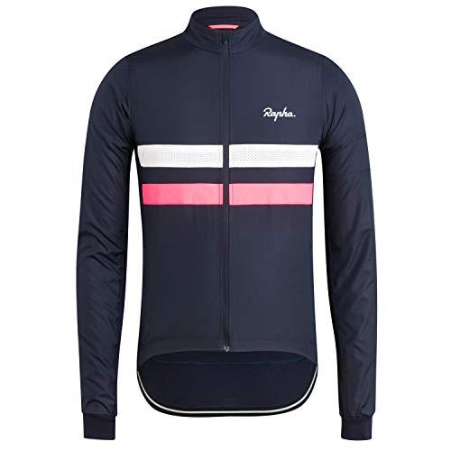Rstar Radtrikot Langarm-Radjacke Rapha Gestreifte Gehender Reißverschluss Mountainbike MTB-Shirt Fahrrad-Tops (Blau,L)