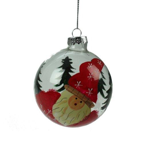 Gisela Graham @ Christmas Direct - Pallina di vetro, dipinta a mano con Babbo Natale, 8 cm