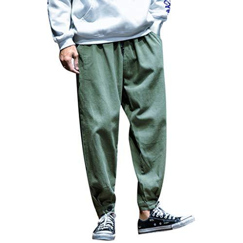 GreatestPAK Herren Lässig Overall locker gestrahlt beschnittene Hose Herbst Winter Mode kleine Füße neunte Hosen