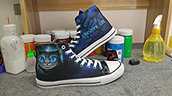 Alice in Wonderland Cheshire Cat Shoes Hand Painted Shoes Cosplay Canvas Shoes Unisex High Top Sneakers Fashion Shoes