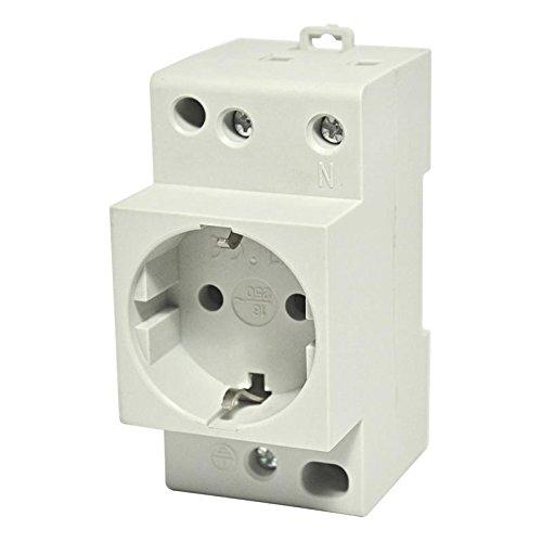 Schuko stopcontact DIN-rail 230 V 16 A inbouwstopcontact voor verdeler schakelkast.