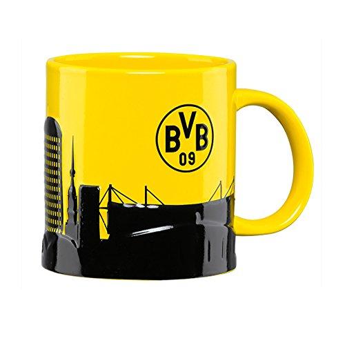 Borussia Dortmund BVB Tasse Skyline, Steingut, Schwarz/Gelb, 10 x 10 x 15 cm