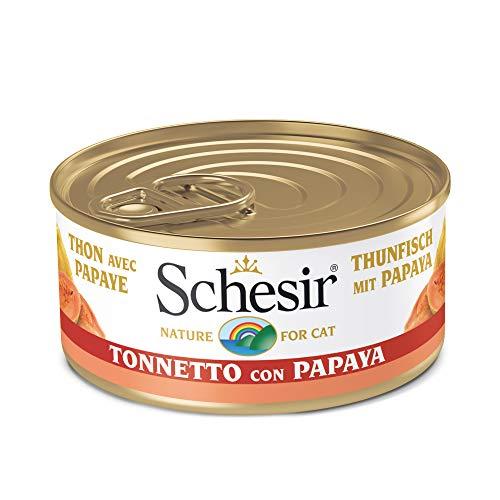 Schesir, Comida húmeda para Gatos Adultos, Sabor bacoreta con Papaya en gelatina Blanda con Verdaderos trozos de Fruta - Total 1,8 kg (24 latas x 75 gr) ⭐