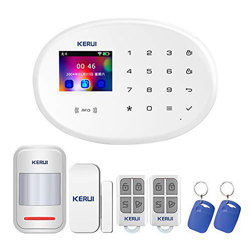 KERUI W20 GSM WiFi 2,4 GHz Funkalarmsystem-System Home-Office-Sicherheit Einbruchmeldesystem DIY-Kit mit automatischer Wahl/SMS/RFID/iOS Android/App-Steuerung Push-Deutsch (Basic)