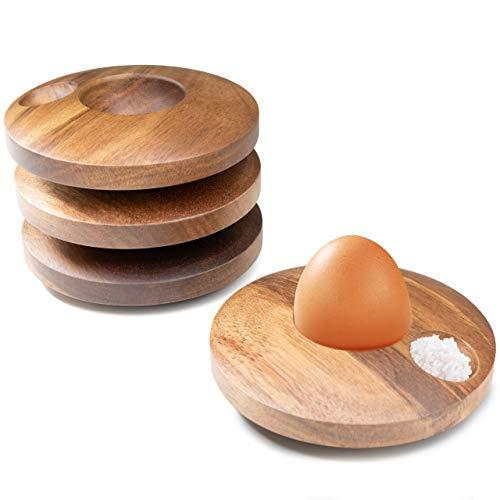 Gerlich® 4er Eierbecher Set aus Akazienholz - nachhaltig, modern & langlebig - Eierbecher mit Walnussoptik für ein besonders edles Frühstück - ideal für jeden Tag