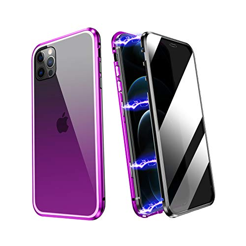 ZHIKE iPhone 7 Case, iPhone 8 Case, iPhone SE 2020 Case, Anti Peeping Magnetic Double Side Privacy Tempered Glass Full Screen Coverage Anti-Slip Design Gradient Color Cover (Anti-Spy, Purple-Black)