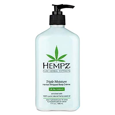 Hempz Natural Triple Moisture Herbal Whipped Body Cream with 100% Pure Hemp Seed Oil for 24-Hour Hydration - Moisturizing Vegan Skin Lotion with Yangu Oil, Peach and Grapefruit - Enriched Moisturizer from Hempz