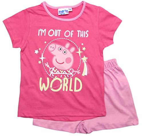Peppa Wutz Schlafanzug Shorty Mädchen Kurz Peppa Pig (Rosa, 128)