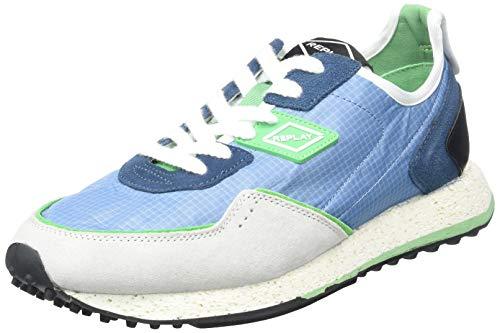 REPLAY Herren R-81 Sneaker, Mehrfarbig (2847 Blue Bright Green), Mehrfarbig (2847 Blue Bright Green), 44 EU