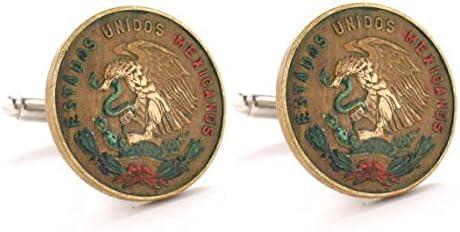 Mexico Cufflinks Cuff Links Coin Mexican Eagle Seal Coins Peso Money Vera Cruz Gemelos Mancuernillas