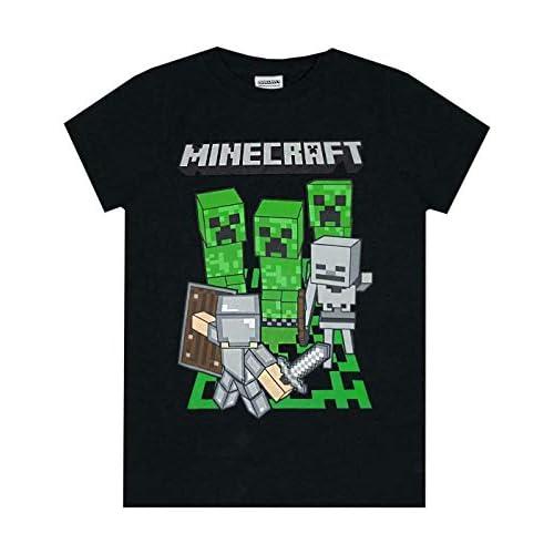 T-shirt ufficiale logo Minecraft Adventure, per bambini e ragazzi Blue 13-14 Anni