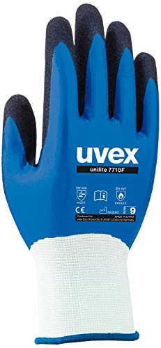 3 Paar uvex Unilite 7710F Arbeitshandschuhe - Schutzhandschuhe für die Arbeit - EN 388 - Blau/Schwarz - 10/XL