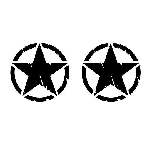 GFD Confezione Adesivi Stella Militare, Varie Dimensioni 10,15,20 cm, 2 Pezzi per Auto, 4x4 off Road (Nero, 10 CM)