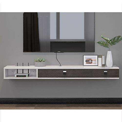 Floating Shelf Wall Mounted TV Stand Shelf Rack Cabinet Media Entertainment Console Gaming Shelving Unit with 3 Drawers Home Furniture (Color : Gray+White)