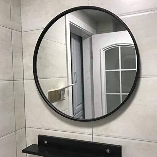 Mir Grand miroir mural moderne avec cadre en cuivre et cercle | Panneau de verre rond flottant à dos d'argent de qualité supérieure contemporain | Vanité, chambre ou salle de bain | Miroir suspendu QJ