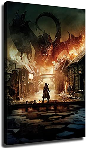 The Hobbit The Battle of Smaug Wall Art Decor Canvas Painting Poster Print Canvas Art Pictures for Room Home Decor (24×36inch-No Framed)