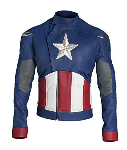 Disfraz de Capitán América Avengers para hombre, colección de chaqueta de cuero