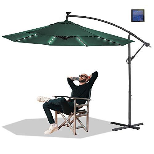 HENGMEI ALU Sonnenschirm Gartenschirm Ampelschirm Strandschirm Kurbelschirm Neigbar Marktschirm Terrassenschirm mit UV Schutz 40+ für Balkon, Garten, Tarasse (Ø350 cm mit LED, Grün)