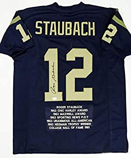 Roger Staubach Autographed Navy Blue College Style STAT Jersey- JSA W Auth