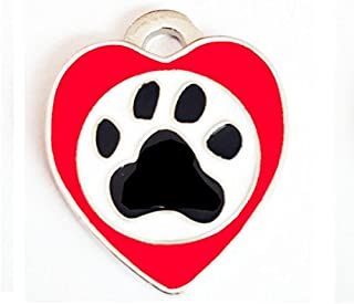 Polykor Useful Heart-Shaped Footprints Dog Tag Pet Pendant Color Paint Tag(Red)