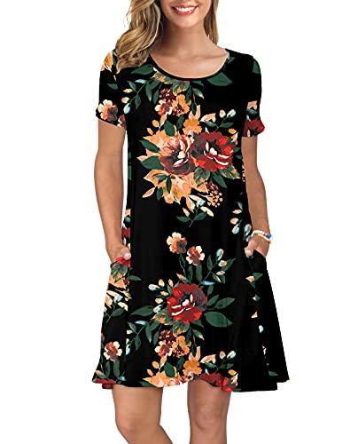 KORSIS Women's Summer Floral Dresses T Shirt Dress Brown Flower Black XL