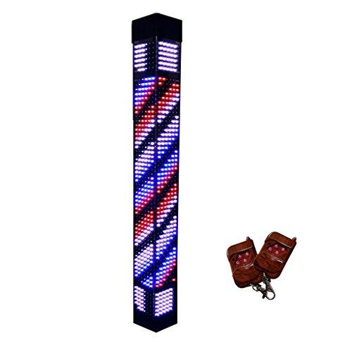 Augrous Barbierstaaf lamp LED-licht met afstandsbediening roterende & verlichte kapsalon teken, driehoekige vorm, 90 cm