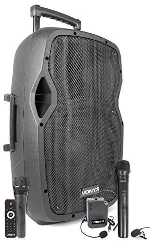 VONYX AP1200PA Enceinte Sono Portable avec Microphones sans Fil, Filaire et Casque – 600W Max, Bluetooth, USB/SD/MP3, Boomer 12', avec poignée télescopique et roulettes pour Les déplacements