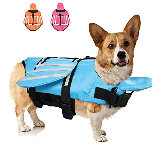 Fragralley French Bulldog Dog Life Jacket, Pet Life Vest Small, Medium, Unique Wings Design Doggy Lifesaver Preserver Swimsuit with Handle for Swim, Pool, Beach, Boating