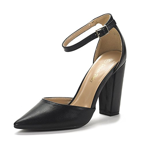 DREAM PAIRS Women's Coco Black Pu Mid Heel Pump Shoes – 7 M US