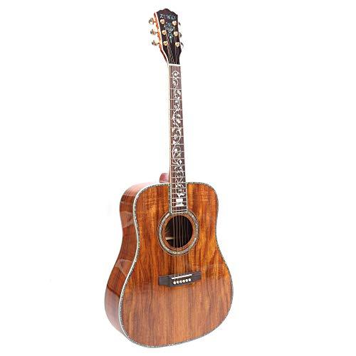 ZUWEI 41in Handmade Acoustic Guitar Life Flower Serise KA200 KOA Top& Backside Abalone Inlay, Grover Tuner Lower Action Bone Nut& Saddle Free Hardcase Gloss Finish Gold Hardware