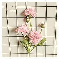 造花 1ブーケ5ヘッド人工牡丹の花シルクの偽の花 (Color : Pink)