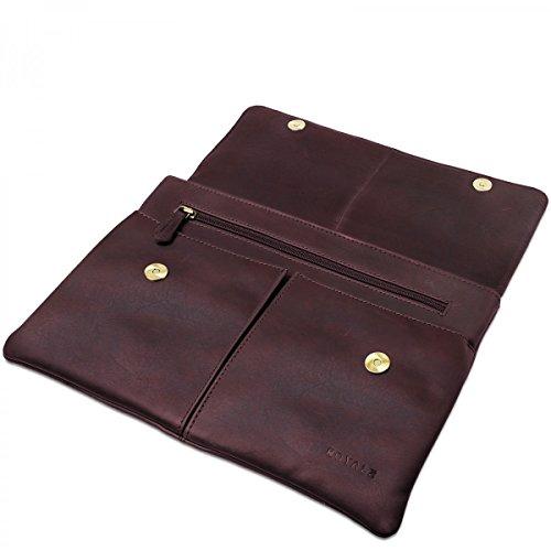 ROYALZ Schutztasche für Odys Fusion Win 12 Tasche Leder (11,6 2in1) Ledertasche Hülle Sleeve Retro Vintage Erscheinungsbild braun