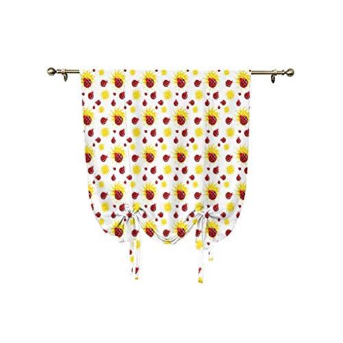 Ladybugs Tie Up Curtain Panels,Summer Season Inspired Sun Pattern Bugs Animal Imagery Cartoon Characters Decorative Thermal Insulated Rod Pocket Curtain,24x47 Inch,for Home Windows Red Black Yellow