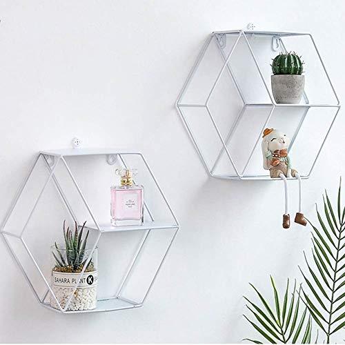 N/A QAQZZ 1 stuk metalen rekken van ijzer, geometrisch, zeshoekig, wandrek, wandplank, bloempot, handwerk, decoratie voor thuis