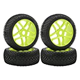 17mm Hub Wheel Rim Tires 1:8 Scale Off-Road RC Car Buggy Tyre Green Pack of 4