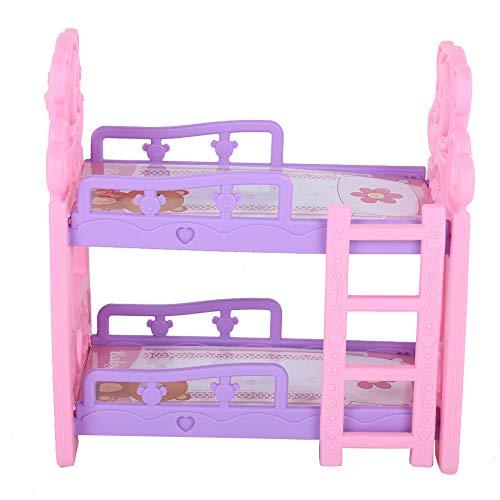 XINL Mini Muebles, Cama de casa de muñecas de Mano de Obra Exquisita ecológica y Segura, Apariencia novedosa para niños para niña(Queen bunk Bed Type B)