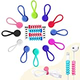 VIWIEU Silicone Cable Ties Strong Magnetic Colorful Earbud Clips Cord Winder Keeper Organizer 12 Pack with Bonus 6 Cable Protectors, Twist Magnet Ties for Holding Stuff, Bookmarker, Fridge Magnets