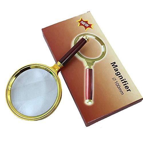 FDJ 10X Hd Imitatie Houten Handvat Handheld Vergrootglas Gift Vergrootglas, Oude Leeshulpmiddel Tool Spiegel