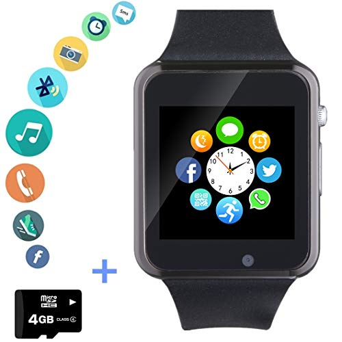 Smartwatch Smart Watch Phone with SD Card Camera Pedometer Text Call Notification SIM Card Slot...