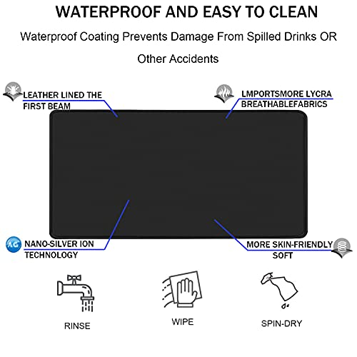 """Gaming Mouse Pad,Upgrade Durable 31.5""""x15.7""""x0.12"""" Larger Extended Gaming Mouse Pad with Stitched Edges,Waterproof Non-Slip Base Long XXL Large Gaming Mouse Pad for Home Office Gaming Work, Black Photo #4"""