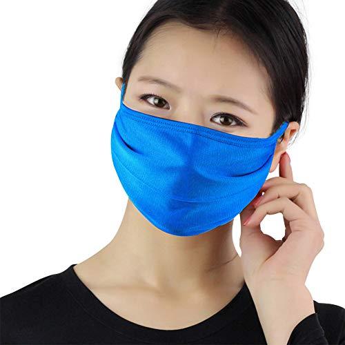 Unisex-Baumwoll-Maske, 3 Stück, doppelschichtig, Seide, atmungsaktiv, antibakteriell, Sonnenschutz, kälte- und staubdicht, Grau, blau