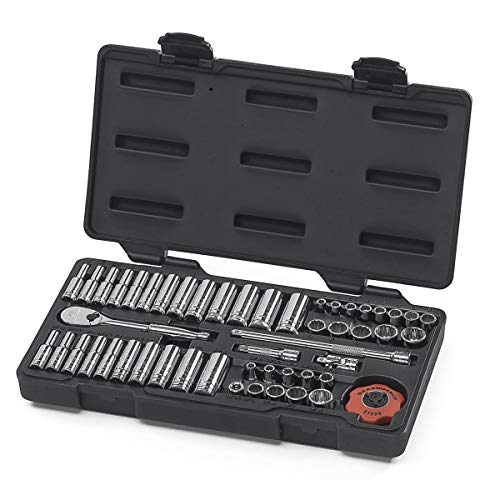 "GEARWRENCH 51 Pc. 1/4"" Drive 12 Pt. Mechanics Tool Set, Standard & Deep, SAE/Metric - 80301"