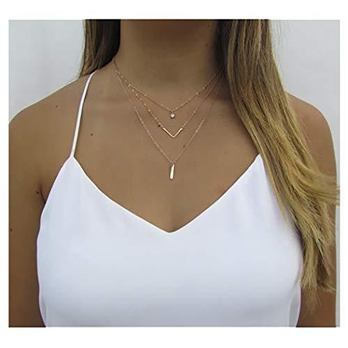 IYOU Fashion gelaagde ketting gouden kristallen munt hanger ketting bar V-vorm kettingen sieraden voor vrouwen en meisjes