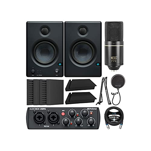 PreSonus Eris 2-Way Near Field Studio Monitor Bundle with AudioBox USB 96 Audio Interface, MXL 770 Microphone, Blucoil Isolation Pads, Boom Arm Plus Pop Filter, Acoustic Wedges and XLR Cable