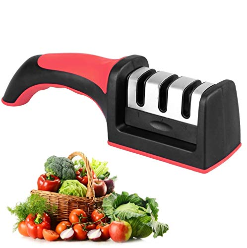 LINKLKBOY Professional Knife Sharpener, Premium Three Stages Manual Knife Sharpener, is A Household Necessity - Professional Chef's Choice